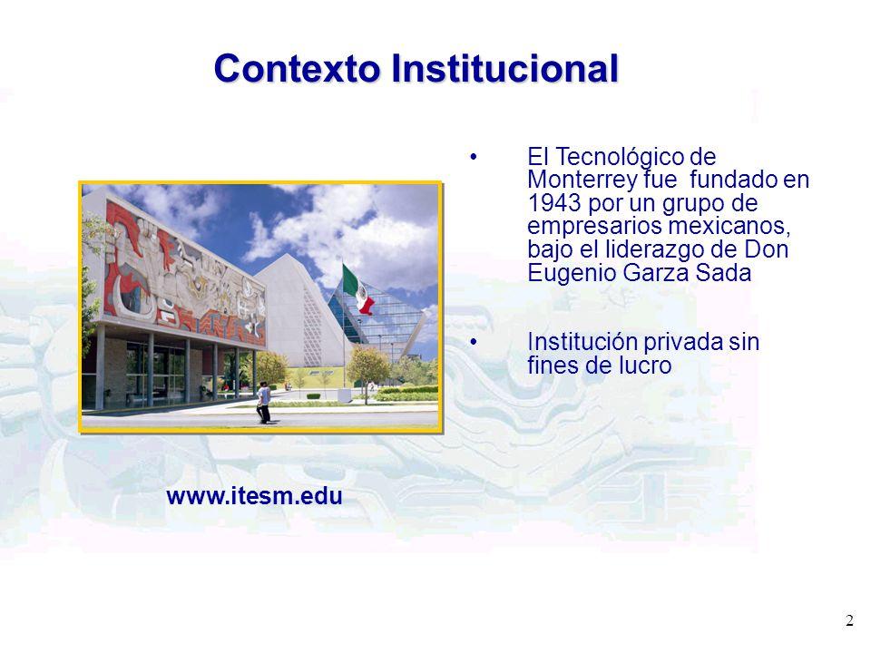 Contexto Institucional El Tecnológico de Monterrey fue fundado en 1943 por un grupo de empresarios mexicanos, bajo el liderazgo de Don Eugenio Garza S