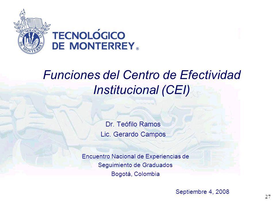 Encuentro Nacional de Experiencias de Seguimiento de Graduados Bogotá, Colombia Septiembre 4, 2008 27 Dr. Teófilo Ramos Lic. Gerardo Campos Funciones
