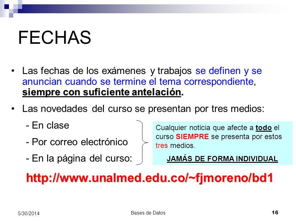 Bases de Datos 16 5/30/2014 FECHAS siempre con suficiente antelación.Las fechas de los exámenes y trabajos se definen y se anuncian cuando se termine
