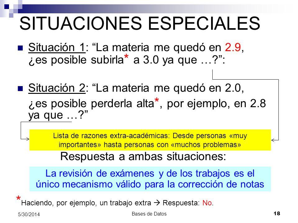 Bases de Datos 18 5/30/2014 SITUACIONES ESPECIALES Situación 1: La materia me quedó en 2.9, ¿es posible subirla * a 3.0 ya que …?: Situación 2: La mat