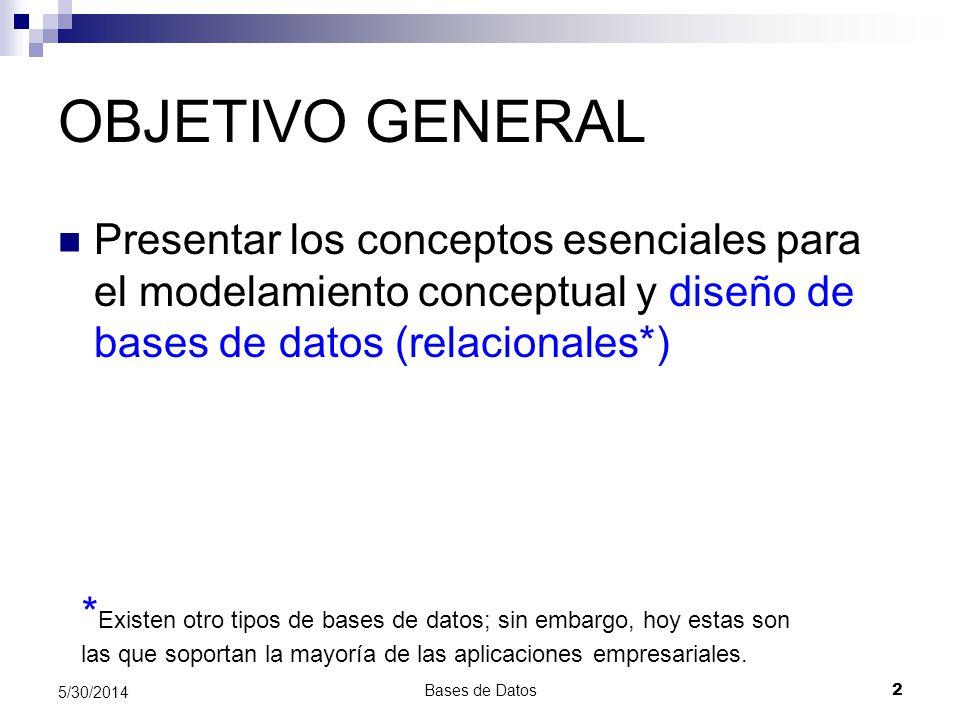 Bases de Datos 2 5/30/2014 OBJETIVO GENERAL Presentar los conceptos esenciales para el modelamiento conceptual y diseño de bases de datos (relacionale