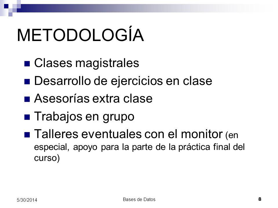 Bases de Datos 8 5/30/2014 METODOLOGÍA Clases magistrales Desarrollo de ejercicios en clase Asesorías extra clase Trabajos en grupo Talleres eventuale