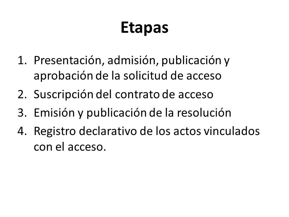 Etapas 1.Presentación, admisión, publicación y aprobación de la solicitud de acceso 2.Suscripción del contrato de acceso 3.Emisión y publicación de la