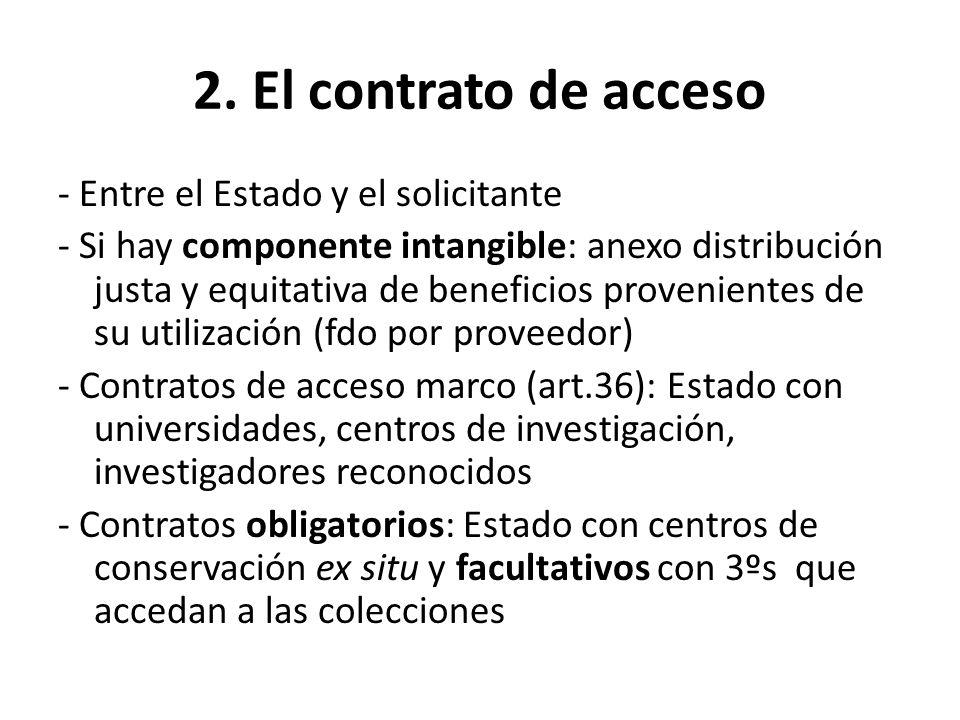 2. El contrato de acceso - Entre el Estado y el solicitante - Si hay componente intangible: anexo distribución justa y equitativa de beneficios proven
