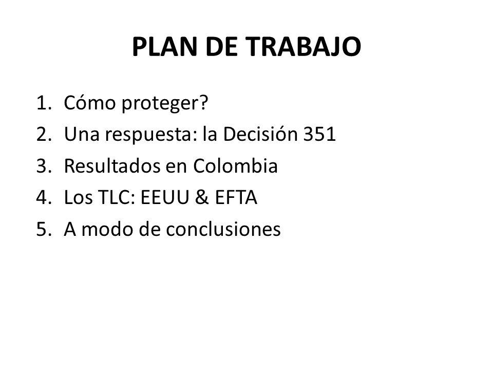 PLAN DE TRABAJO 1.Cómo proteger? 2.Una respuesta: la Decisión 351 3.Resultados en Colombia 4.Los TLC: EEUU & EFTA 5.A modo de conclusiones