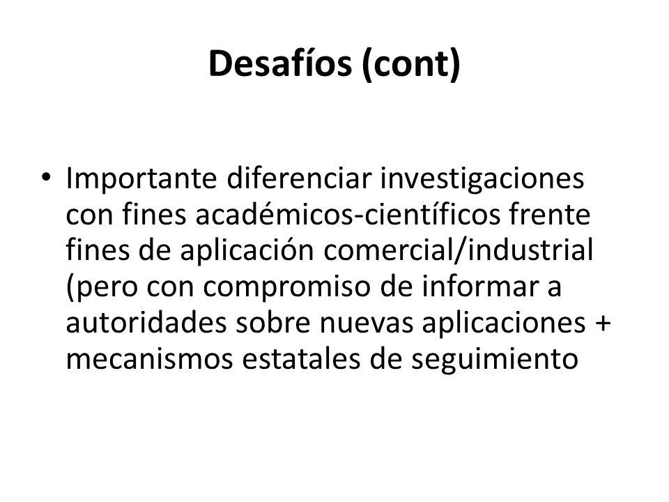 Desafíos (cont) Importante diferenciar investigaciones con fines académicos-científicos frente fines de aplicación comercial/industrial (pero con comp