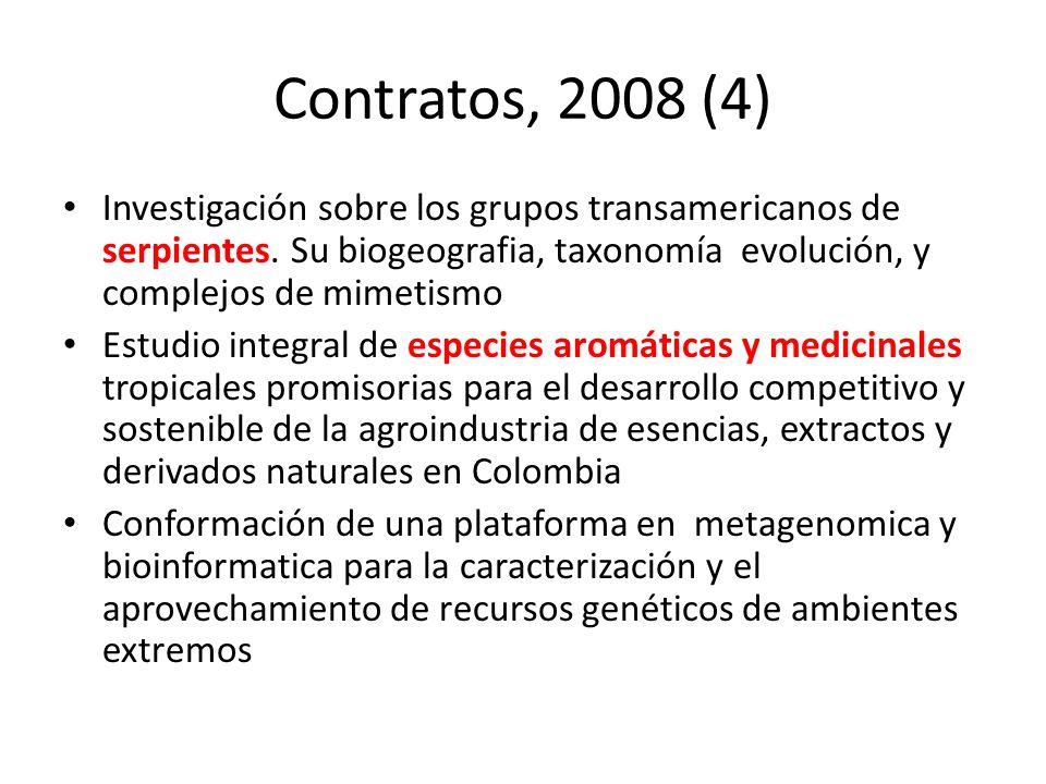 Contratos, 2008 (4) Investigación sobre los grupos transamericanos de serpientes. Su biogeografia, taxonomía evolución, y complejos de mimetismo Estud