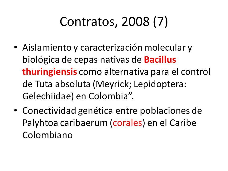 Contratos, 2008 (7) Aislamiento y caracterización molecular y biológica de cepas nativas de Bacillus thuringiensis como alternativa para el control de
