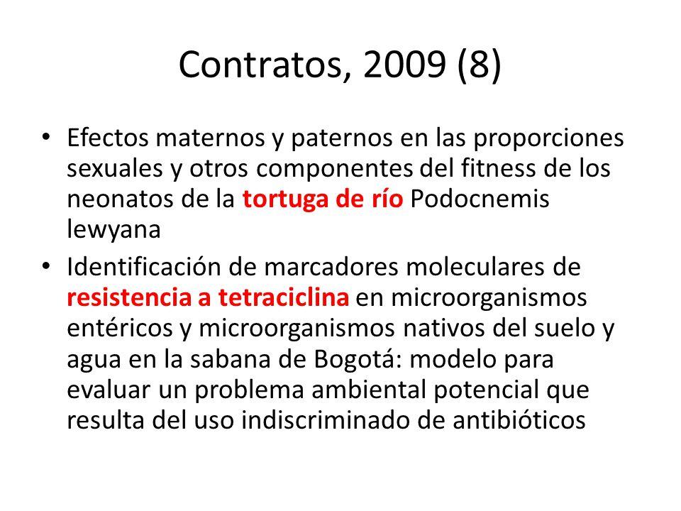 Contratos, 2009 (8) Efectos maternos y paternos en las proporciones sexuales y otros componentes del fitness de los neonatos de la tortuga de río Podo