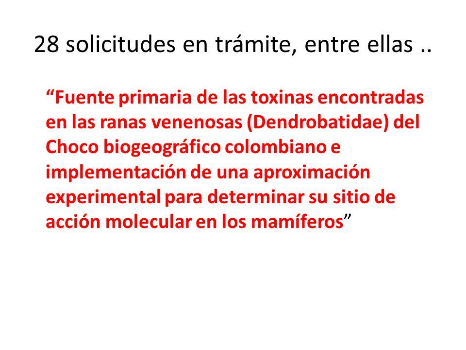 28 solicitudes en trámite, entre ellas.. Fuente primaria de las toxinas encontradas en las ranas venenosas (Dendrobatidae) del Choco biogeográfico col