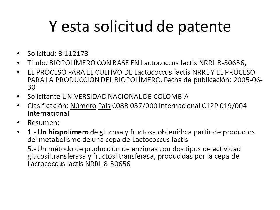 Y esta solicitud de patente Solicitud: 3 112173 Título: BIOPOLÍMERO CON BASE EN Lactococcus lactis NRRL B-30656, EL PROCESO PARA EL CULTIVO DE Lactoco