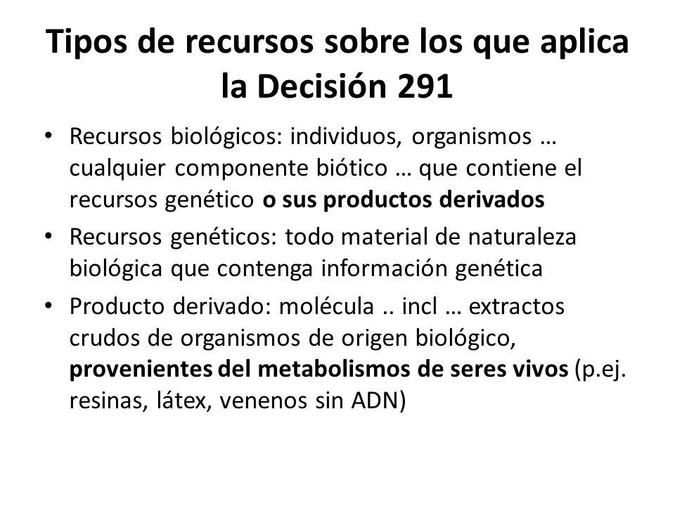 Tipos de recursos sobre los que aplica la Decisión 291 Recursos biológicos: individuos, organismos … cualquier componente biótico … que contiene el re