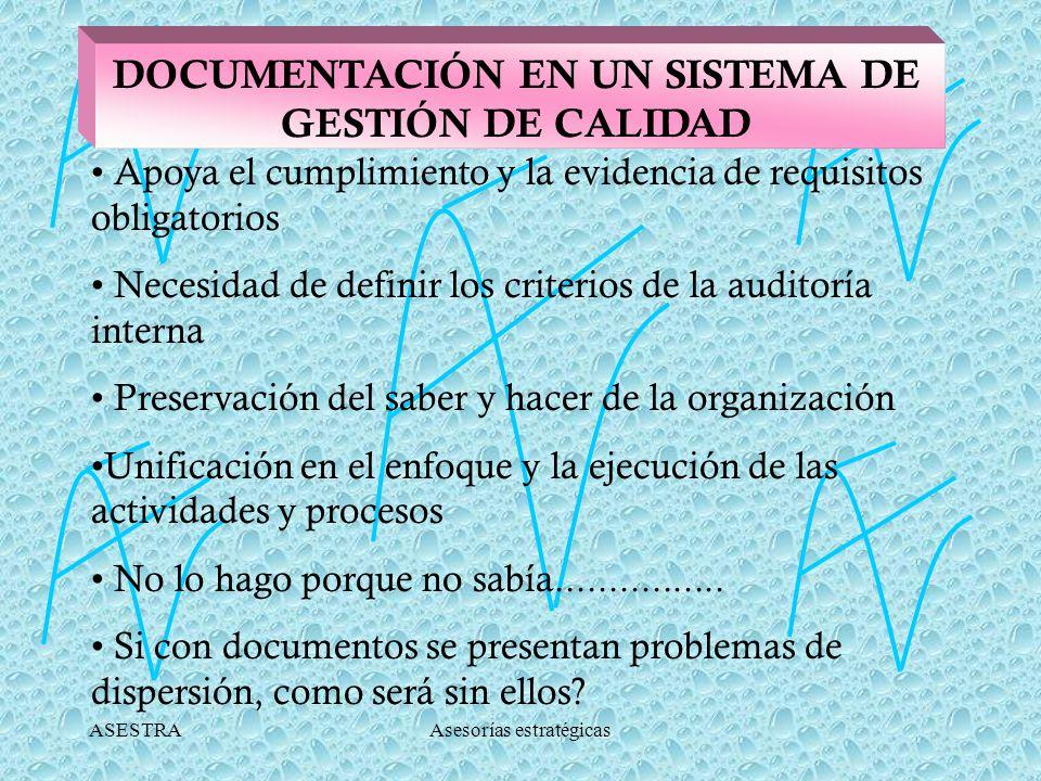 ASESTRAAsesorías estratégicas DOCUMENTACIÓN EN UN SISTEMA DE GESTIÓN DE CALIDAD Apoya el cumplimiento y la evidencia de requisitos obligatorios Necesidad de definir los criterios de la auditoría interna Preservación del saber y hacer de la organización Unificación en el enfoque y la ejecución de las actividades y procesos No lo hago porque no sabía................