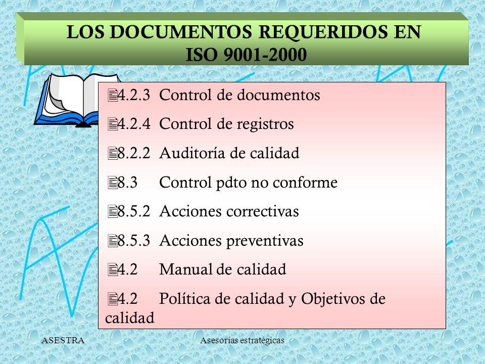 ASESTRAAsesorías estratégicas LOS DOCUMENTOS REQUERIDOS EN ISO 9001-2000 4.2.3 Control de documentos 4.2.4 Control de registros 8.2.2 Auditoría de calidad 8.3 Control pdto no conforme 8.5.2 Acciones correctivas 8.5.3 Acciones preventivas 4.2 Manual de calidad 4.2 Política de calidad y Objetivos de calidad