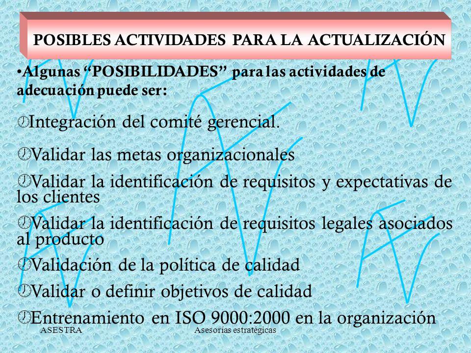 ASESTRAAsesorías estratégicas POSIBLES ACTIVIDADES PARA LA ACTUALIZACIÓN Algunas POSIBILIDADES para las actividades de adecuación puede ser: Integración del comité gerencial.