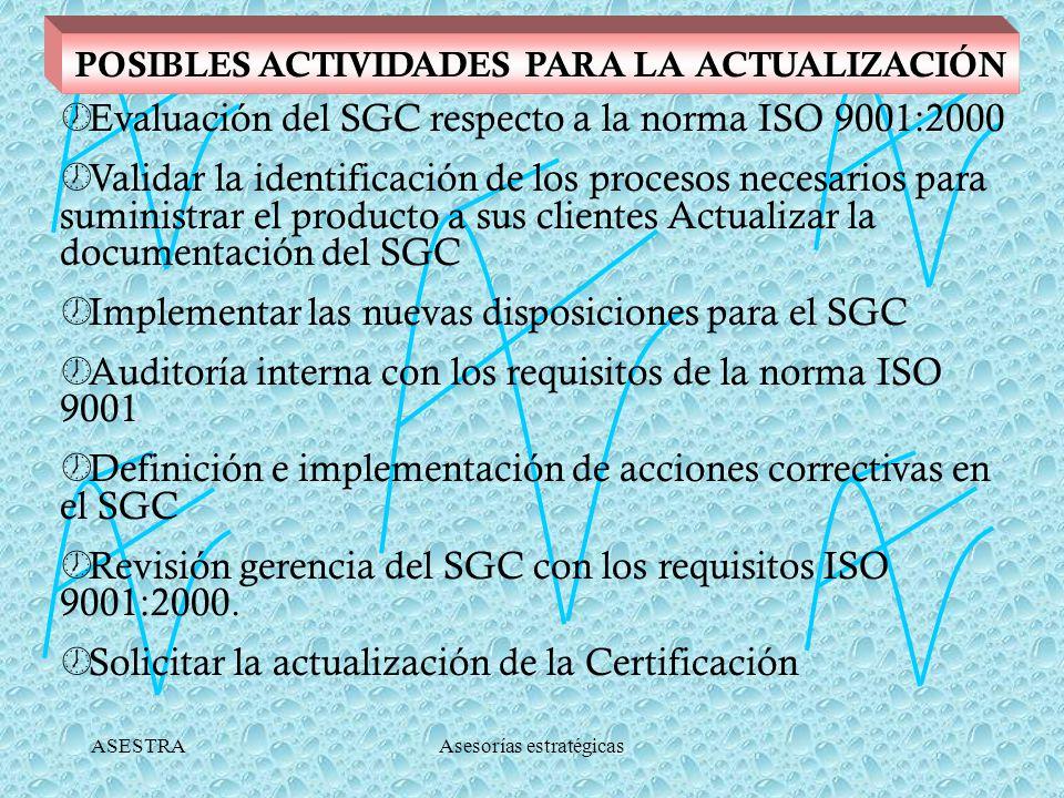 ASESTRAAsesorías estratégicas POSIBLES ACTIVIDADES PARA LA ACTUALIZACIÓN Evaluación del SGC respecto a la norma ISO 9001:2000 Validar la identificación de los procesos necesarios para suministrar el producto a sus clientes Actualizar la documentación del SGC Implementar las nuevas disposiciones para el SGC Auditoría interna con los requisitos de la norma ISO 9001 Definición e implementación de acciones correctivas en el SGC Revisión gerencia del SGC con los requisitos ISO 9001:2000.