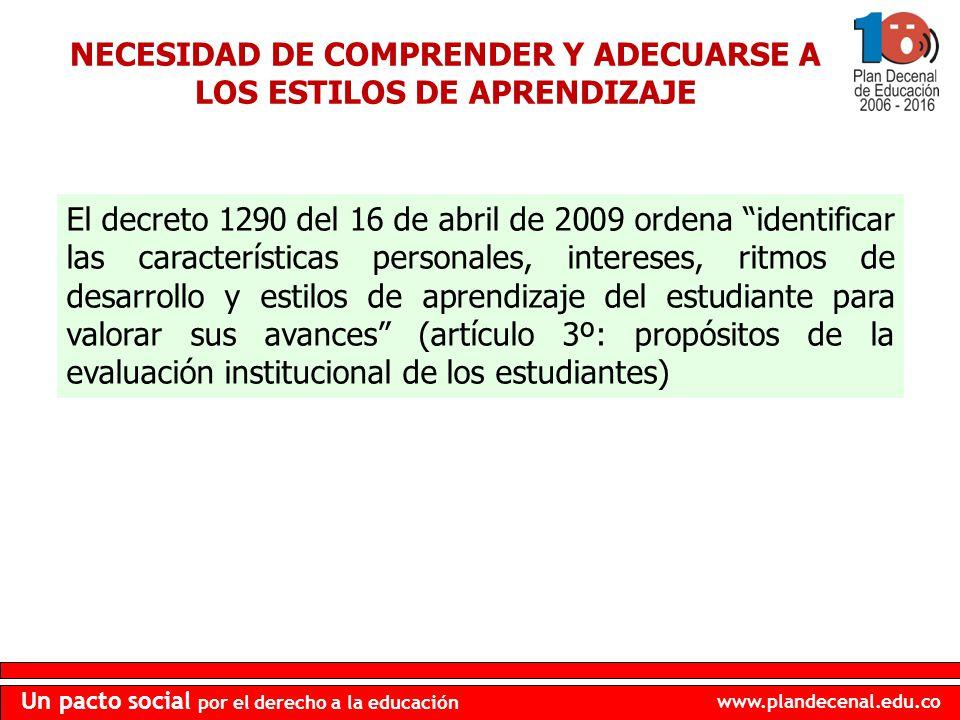 www.plandecenal.edu.co Un pacto social por el derecho a la educación NECESIDAD DE COMPRENDER Y ADECUARSE A LOS ESTILOS DE APRENDIZAJE El decreto 1290