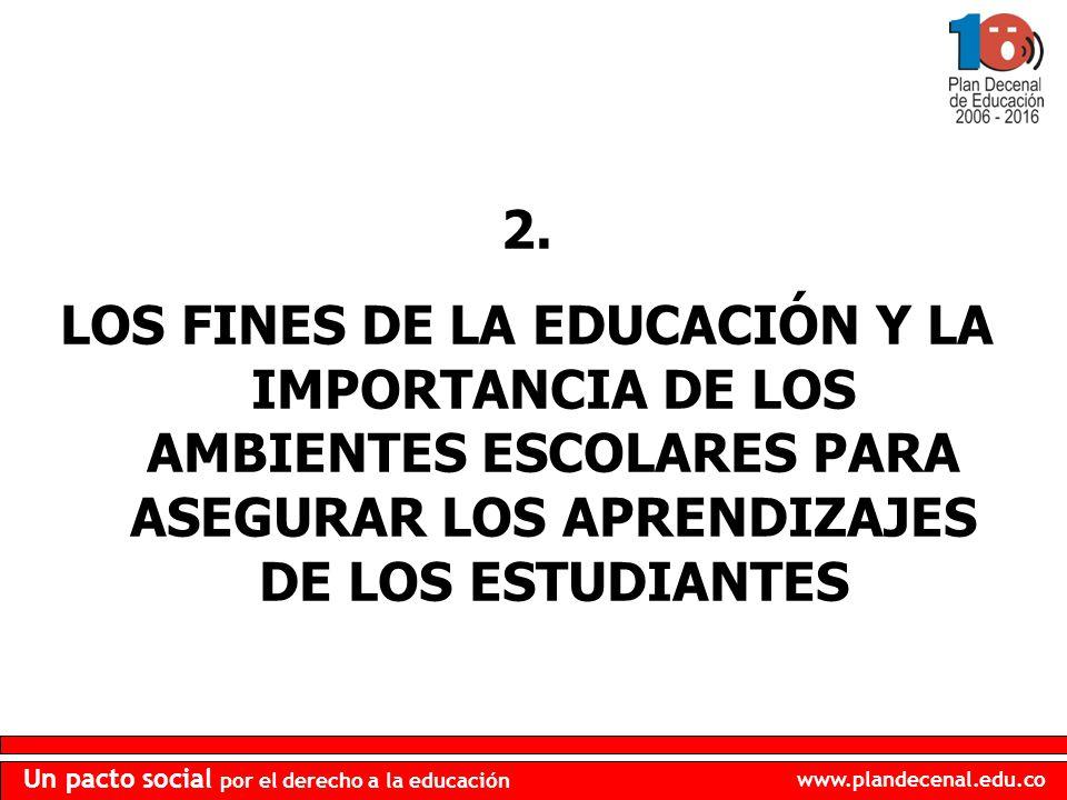 www.plandecenal.edu.co Un pacto social por el derecho a la educación 2. LOS FINES DE LA EDUCACIÓN Y LA IMPORTANCIA DE LOS AMBIENTES ESCOLARES PARA ASE