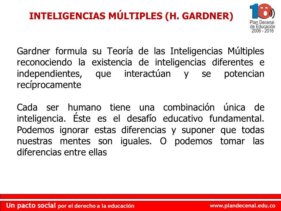 www.plandecenal.edu.co Un pacto social por el derecho a la educación INTELIGENCIAS MÚLTIPLES (H. GARDNER) Gardner formula su Teoría de las Inteligenci