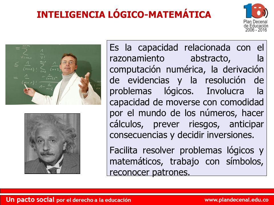 www.plandecenal.edu.co Un pacto social por el derecho a la educación INTELIGENCIA LÓGICO-MATEMÁTICA Es la capacidad relacionada con el razonamiento ab