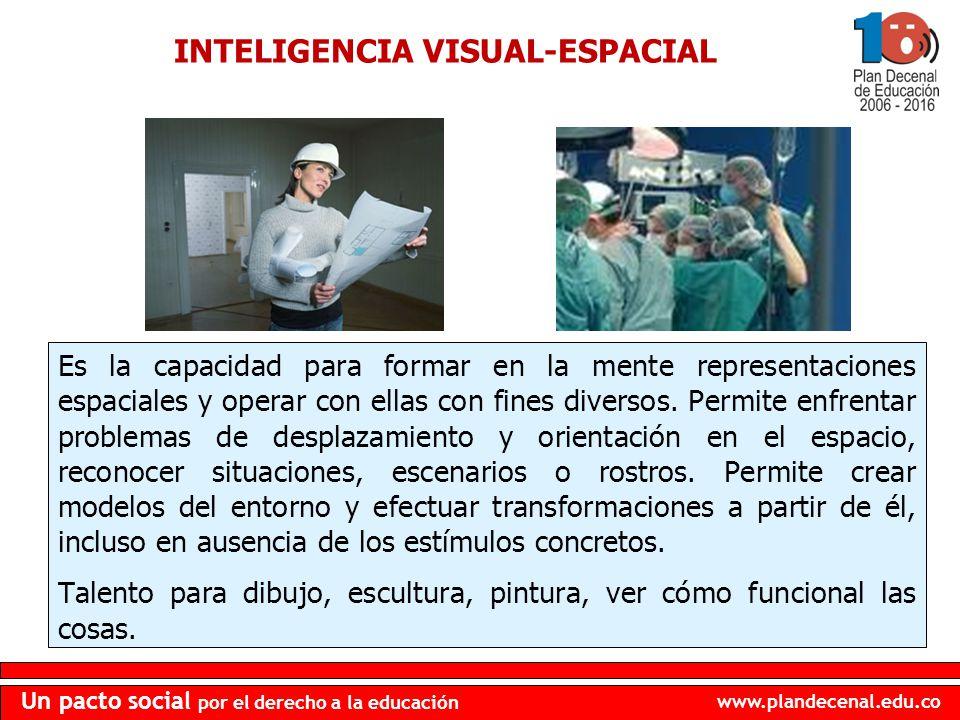 www.plandecenal.edu.co Un pacto social por el derecho a la educación INTELIGENCIA VISUAL-ESPACIAL Es la capacidad para formar en la mente representaci