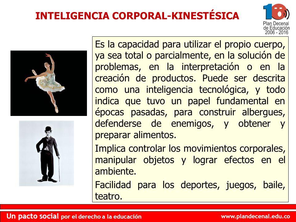 www.plandecenal.edu.co Un pacto social por el derecho a la educación INTELIGENCIA CORPORAL-KINESTÉSICA Es la capacidad para utilizar el propio cuerpo,