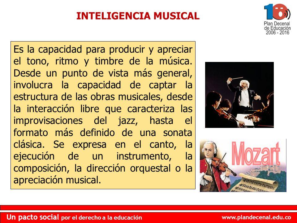 www.plandecenal.edu.co Un pacto social por el derecho a la educación INTELIGENCIA MUSICAL Es la capacidad para producir y apreciar el tono, ritmo y ti