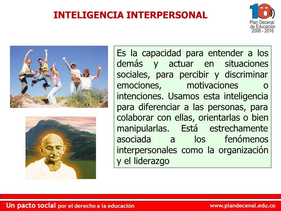 www.plandecenal.edu.co Un pacto social por el derecho a la educación INTELIGENCIA INTERPERSONAL Es la capacidad para entender a los demás y actuar en