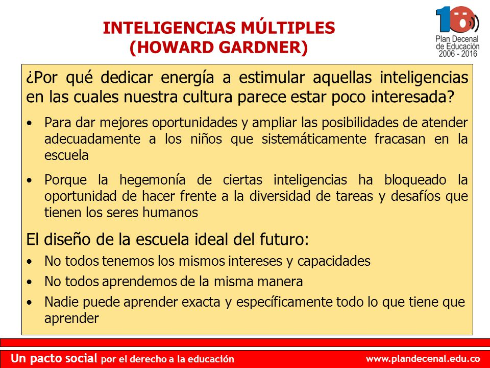 www.plandecenal.edu.co Un pacto social por el derecho a la educación ¿Por qué dedicar energía a estimular aquellas inteligencias en las cuales nuestra