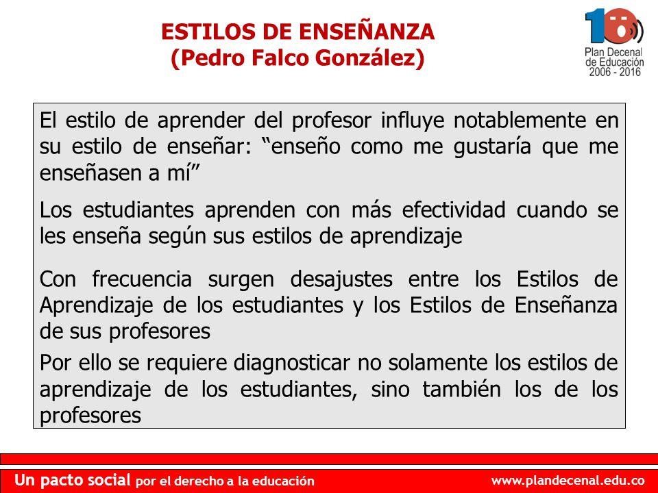 www.plandecenal.edu.co Un pacto social por el derecho a la educación ESTILOS DE ENSEÑANZA (Pedro Falco González) El estilo de aprender del profesor in