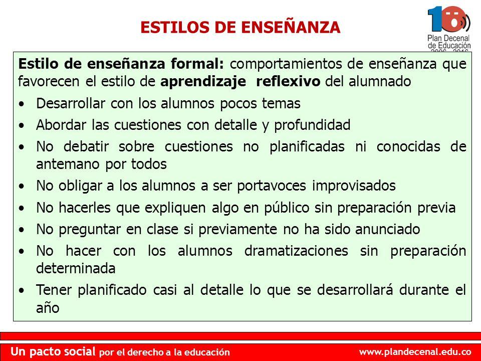 www.plandecenal.edu.co Un pacto social por el derecho a la educación ESTILOS DE ENSEÑANZA Estilo de enseñanza formal: comportamientos de enseñanza que