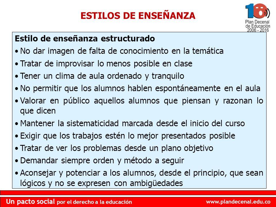 www.plandecenal.edu.co Un pacto social por el derecho a la educación ESTILOS DE ENSEÑANZA Estilo de enseñanza estructurado No dar imagen de falta de c