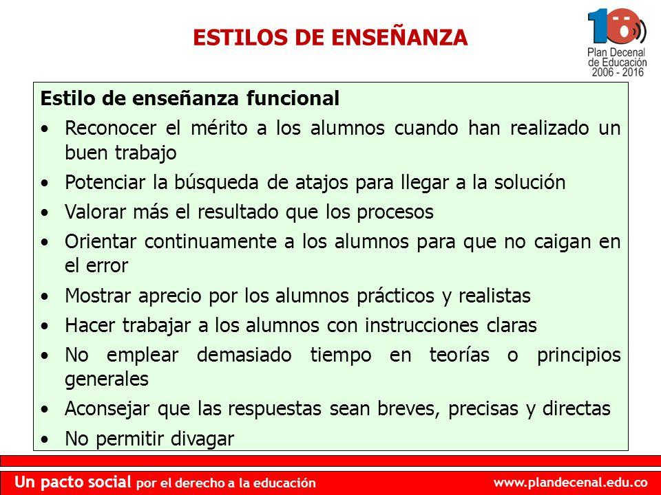 www.plandecenal.edu.co Un pacto social por el derecho a la educación ESTILOS DE ENSEÑANZA Estilo de enseñanza funcional Reconocer el mérito a los alum