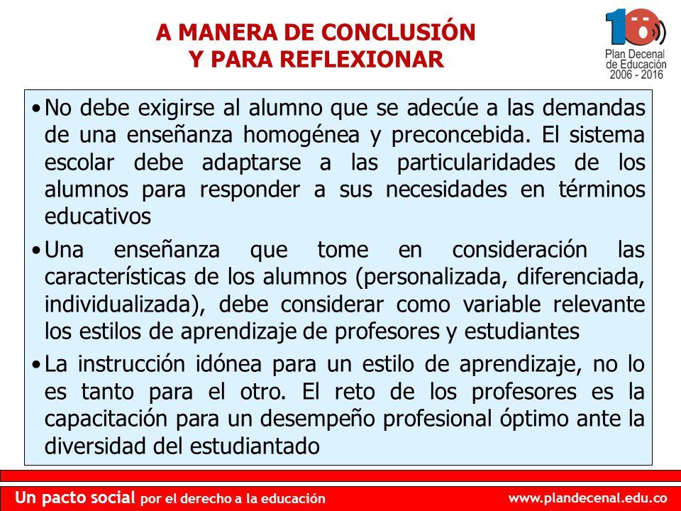 www.plandecenal.edu.co Un pacto social por el derecho a la educación A MANERA DE CONCLUSIÓN Y PARA REFLEXIONAR No debe exigirse al alumno que se adecú