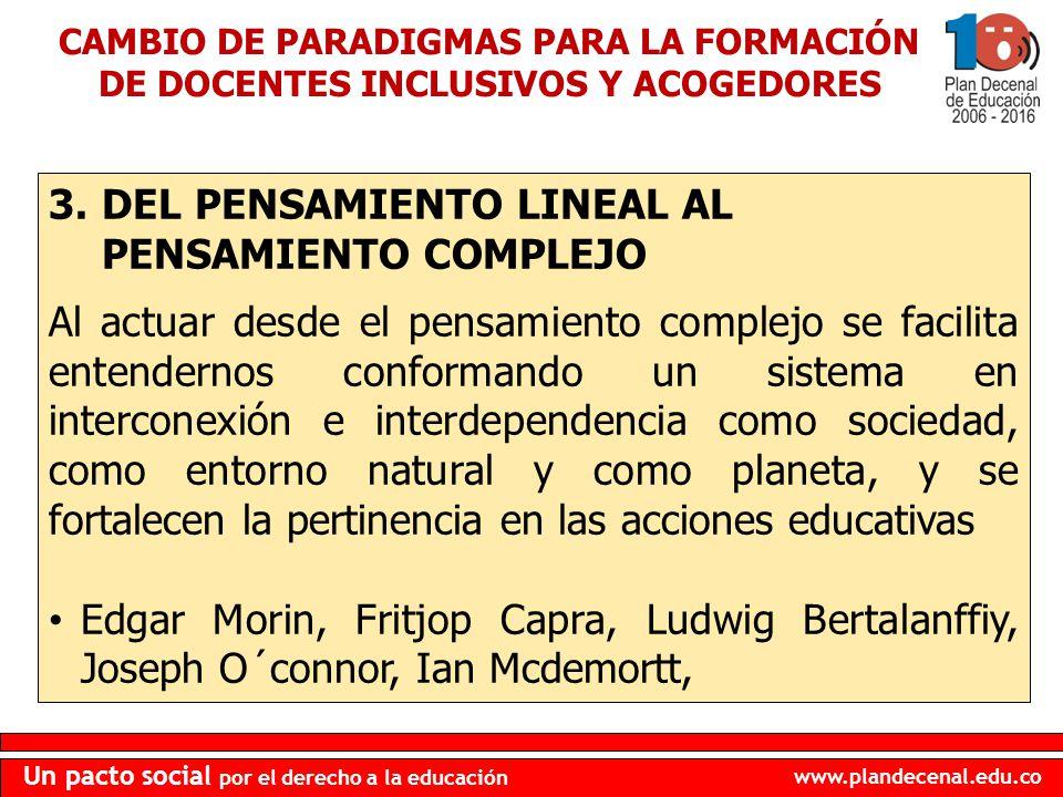 www.plandecenal.edu.co Un pacto social por el derecho a la educación 3.DEL PENSAMIENTO LINEAL AL PENSAMIENTO COMPLEJO Al actuar desde el pensamiento c