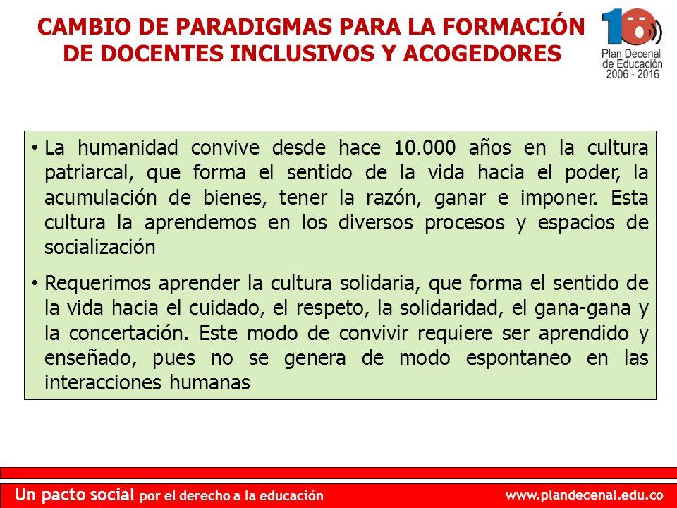 www.plandecenal.edu.co Un pacto social por el derecho a la educación La humanidad convive desde hace 10.000 años en la cultura patriarcal, que forma e