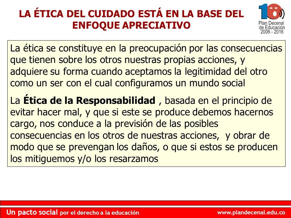 www.plandecenal.edu.co Un pacto social por el derecho a la educación LA ÉTICA DEL CUIDADO ESTÁ EN LA BASE DEL ENFOQUE APRECIATIVO La ética se constitu