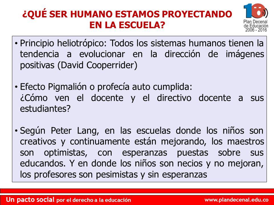 www.plandecenal.edu.co Un pacto social por el derecho a la educación ¿QUÉ SER HUMANO ESTAMOS PROYECTANDO EN LA ESCUELA? Principio heliotrópico: Todos