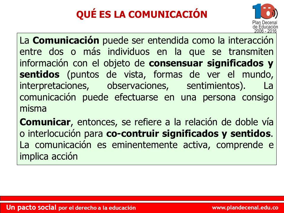 www.plandecenal.edu.co Un pacto social por el derecho a la educación QUÉ ES LA COMUNICACIÓN La Comunicación puede ser entendida como la interacción en