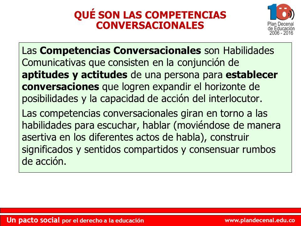 www.plandecenal.edu.co Un pacto social por el derecho a la educación QUÉ SON LAS COMPETENCIAS CONVERSACIONALES Las Competencias Conversacionales son H