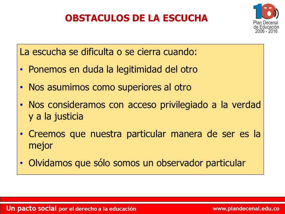 www.plandecenal.edu.co Un pacto social por el derecho a la educación OBSTACULOS DE LA ESCUCHA La escucha se dificulta o se cierra cuando: Ponemos en d