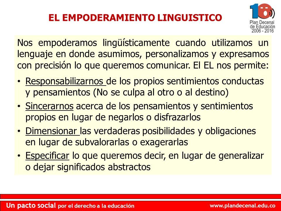 www.plandecenal.edu.co Un pacto social por el derecho a la educación EL EMPODERAMIENTO LINGUISTICO Nos empoderamos lingüísticamente cuando utilizamos