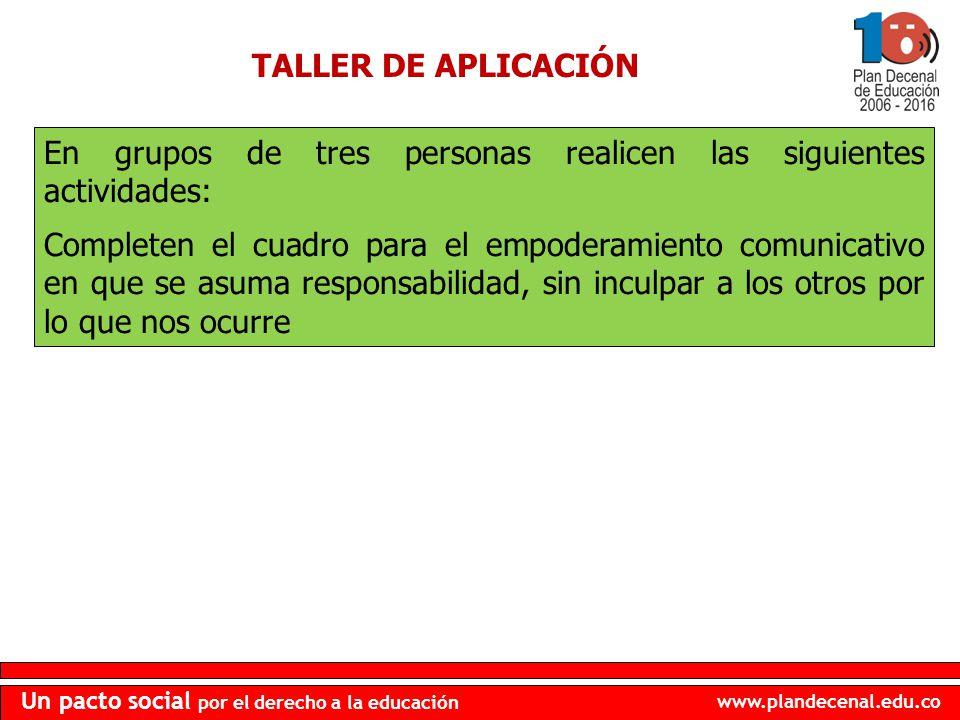 www.plandecenal.edu.co Un pacto social por el derecho a la educación TALLER DE APLICACIÓN En grupos de tres personas realicen las siguientes actividad