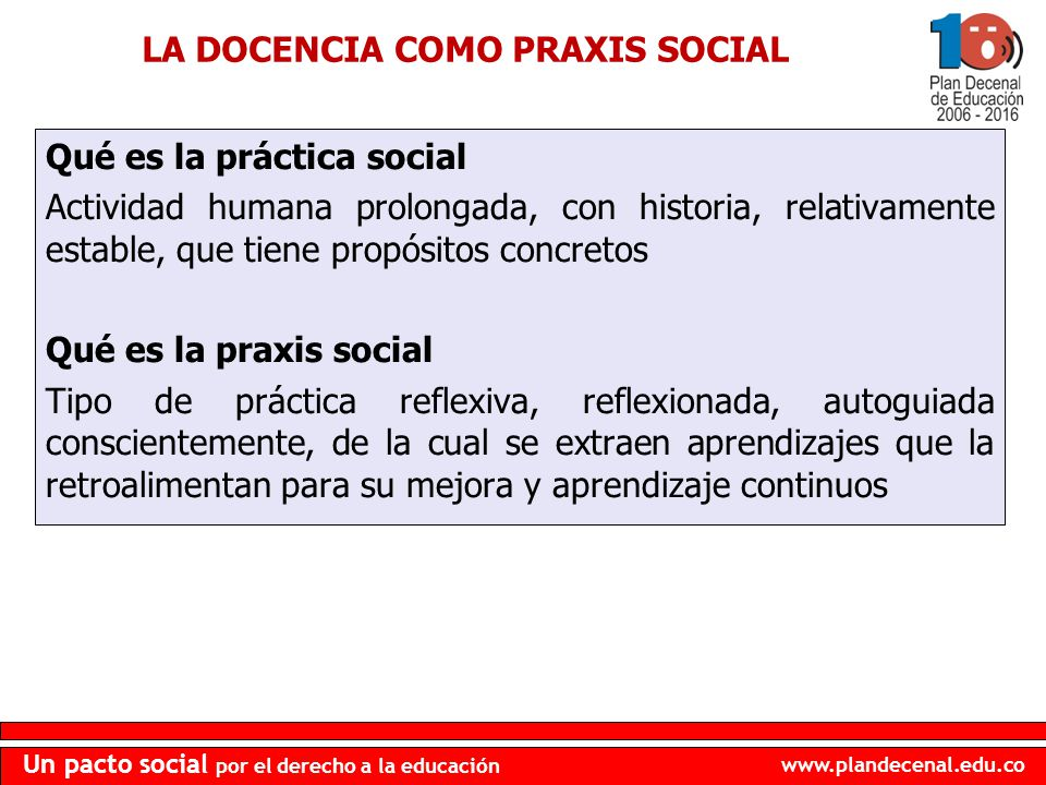 www.plandecenal.edu.co Un pacto social por el derecho a la educación Qué es la práctica social Actividad humana prolongada, con historia, relativament