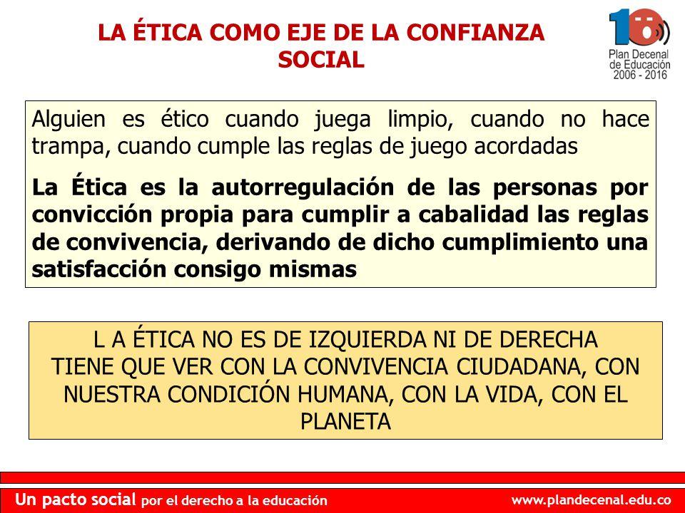 www.plandecenal.edu.co Un pacto social por el derecho a la educación Alguien es ético cuando juega limpio, cuando no hace trampa, cuando cumple las re