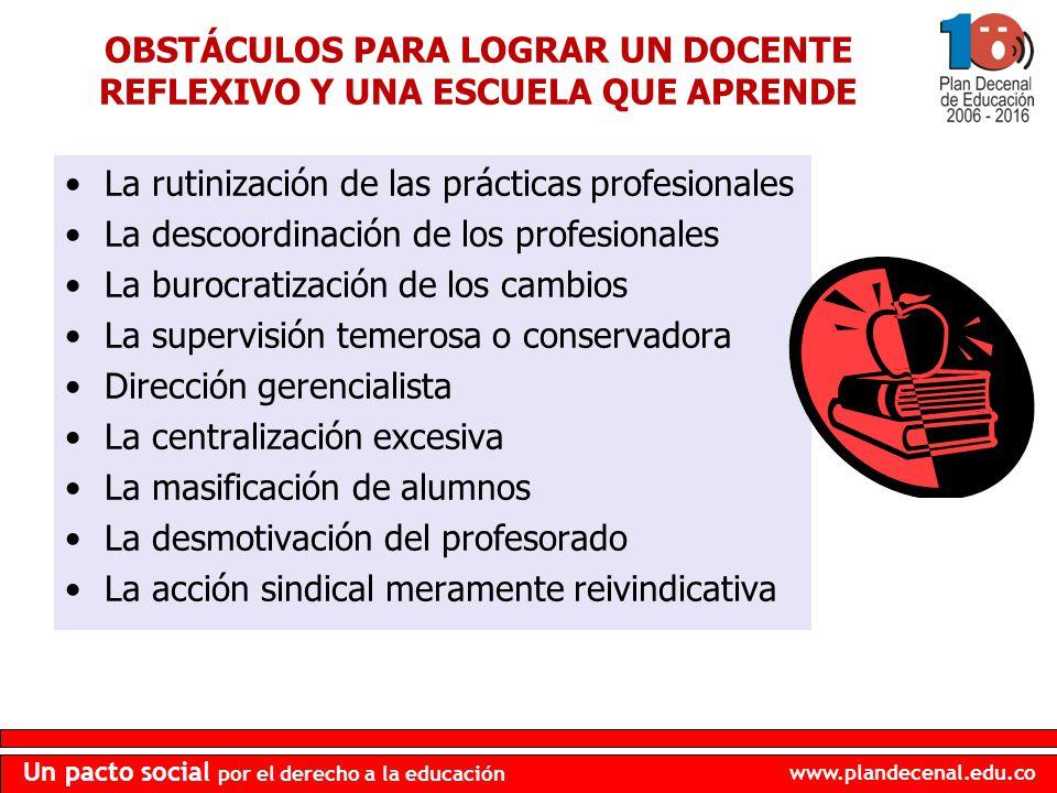 www.plandecenal.edu.co Un pacto social por el derecho a la educación OBSTÁCULOS PARA LOGRAR UN DOCENTE REFLEXIVO Y UNA ESCUELA QUE APRENDE La rutiniza
