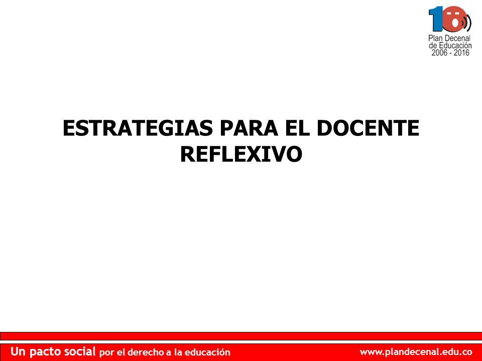 www.plandecenal.edu.co Un pacto social por el derecho a la educación ESTRATEGIAS PARA EL DOCENTE REFLEXIVO