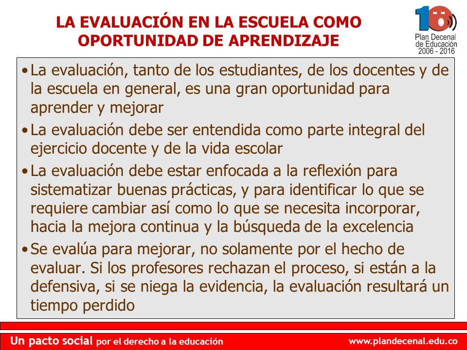 www.plandecenal.edu.co Un pacto social por el derecho a la educación LA EVALUACIÓN EN LA ESCUELA COMO OPORTUNIDAD DE APRENDIZAJE La evaluación, tanto