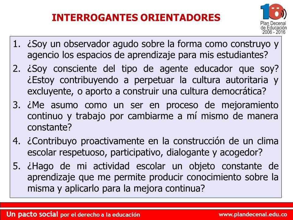 www.plandecenal.edu.co Un pacto social por el derecho a la educación 1.¿Soy un observador agudo sobre la forma como construyo y agencio los espacios d