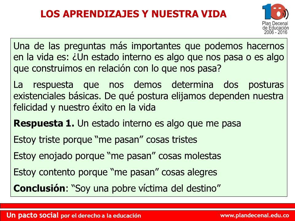 www.plandecenal.edu.co Un pacto social por el derecho a la educación LOS APRENDIZAJES Y NUESTRA VIDA Una de las preguntas más importantes que podemos